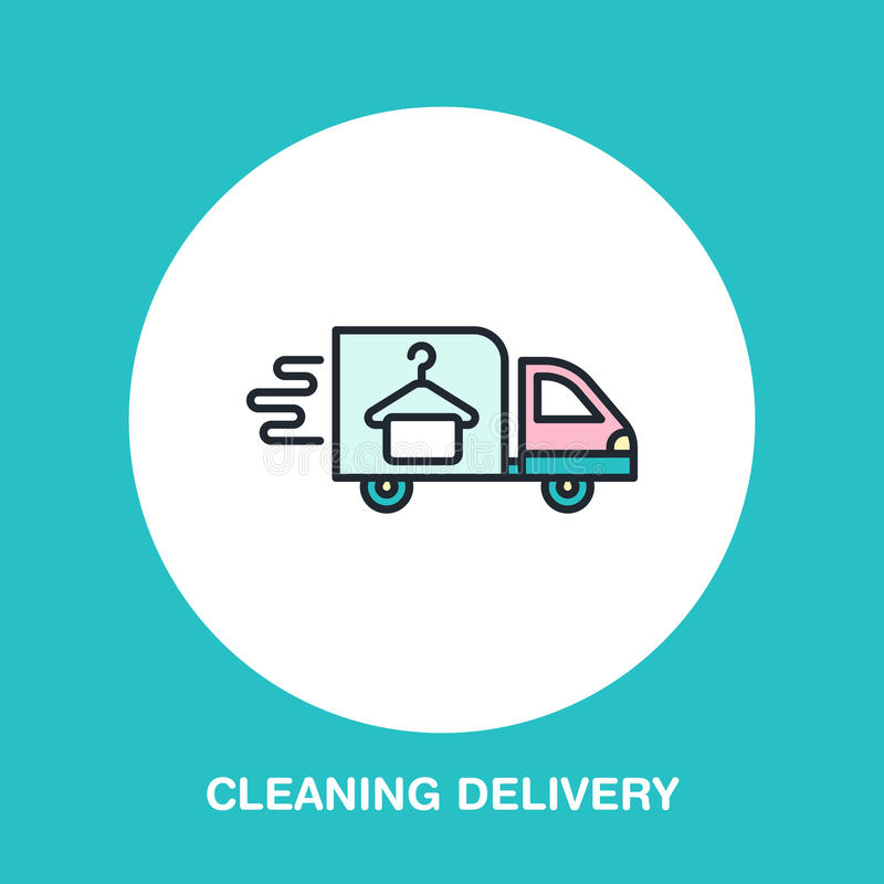 Delivery colored flat line icon, fast dry cleaning courier logo. stock illustration