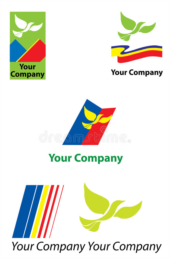 Delivery company logo. Four logo design templates for parcel delivery, transportation or travel company. Colors and text can be changed in additonal format