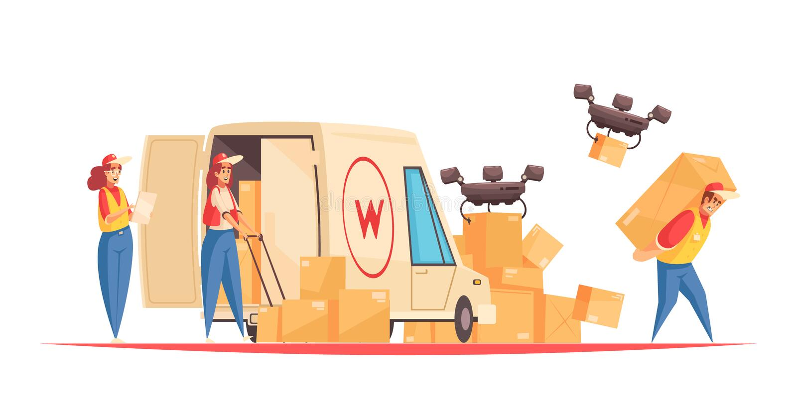 Delivery Logistics Doodle Composition. Delivery composition with postal service employees doodle characters with van and quadcopter drones shipping parcel boxes stock illustration