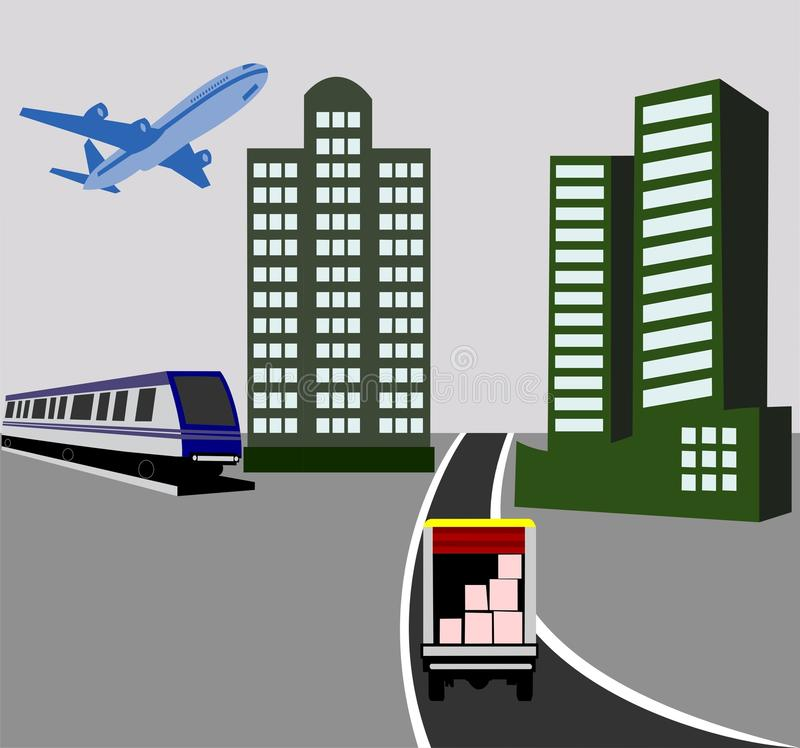 Delivery Concept. Concept of Delivery by Air, Rail and Road royalty free illustration