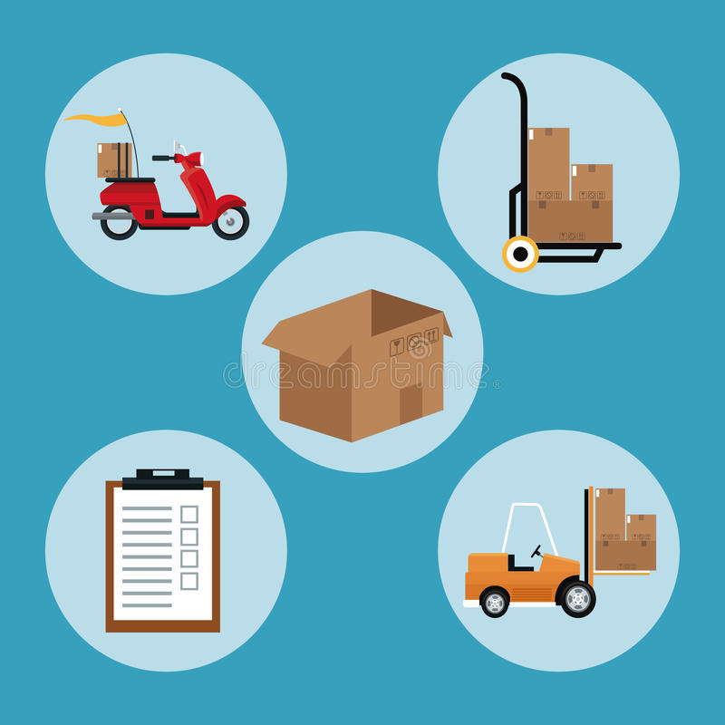 Delivery concept collection equipment shipping. Vector illustration eps 10 stock illustration