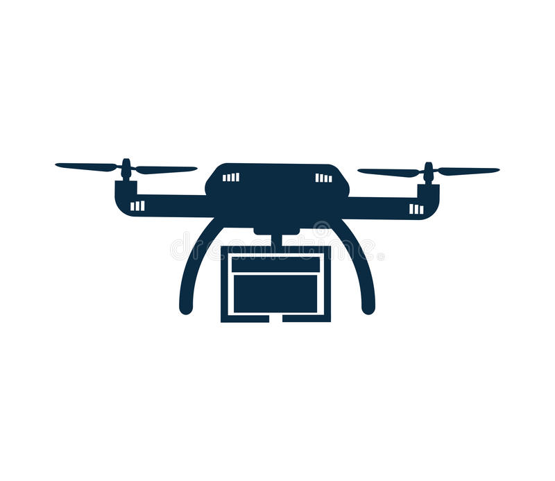 Drone With Box Isolated Icon  Delivery Concept  Stock
