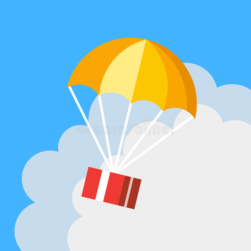 Free Delivery Concept, Parachute Icon. Gift Box Flying In Blue Sky Royalty Free Stock Image - 71816026