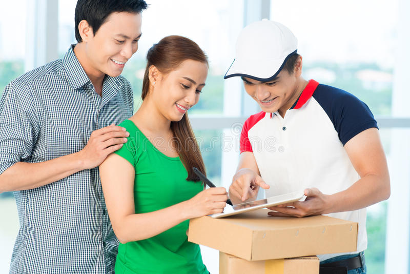 Delivery confirmation stock images