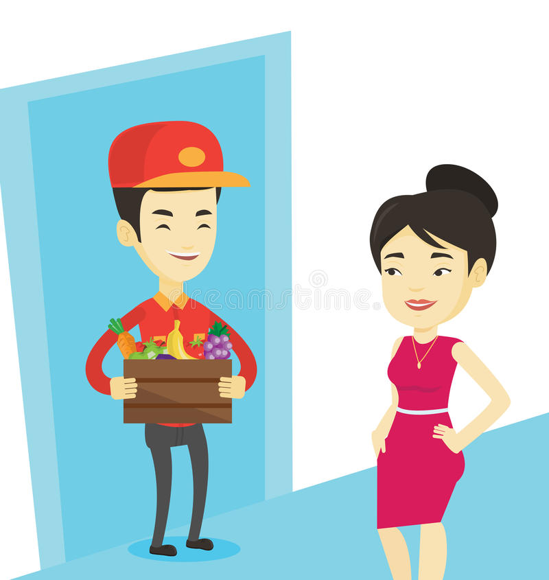 Delivery courier delivering groceries to customer. Delivery courier delivering grocery shopping order. Girl receiving groceries from delivery courier. Man stock illustration