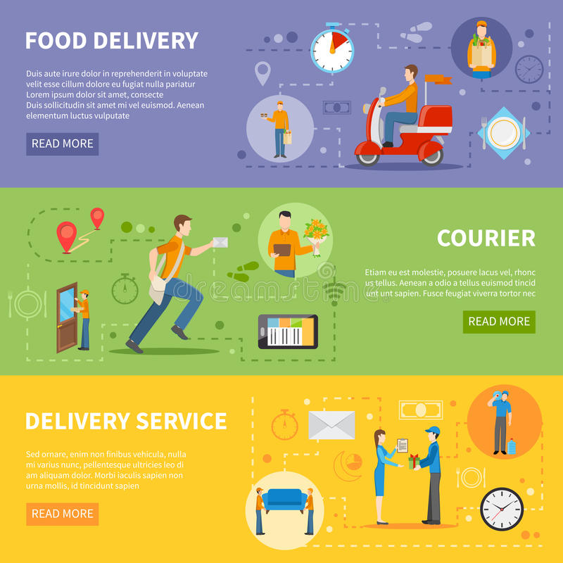 Delivery Courier People Banners vector illustration