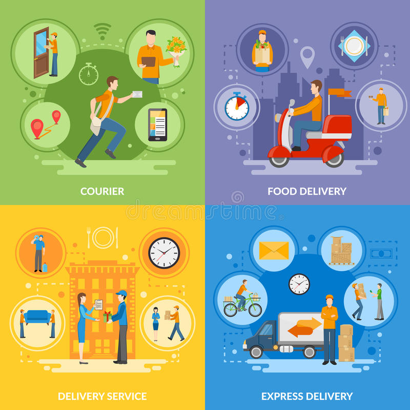 Delivery Courier People 2x2 Flat Icons Set stock illustration