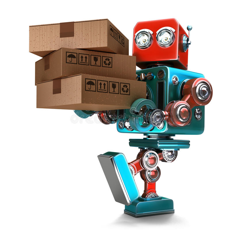 3d Courier Robot With Hand Truck. Free Delivery Concept
