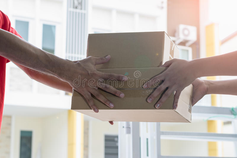 Delivery and courier service concepts. stock photos