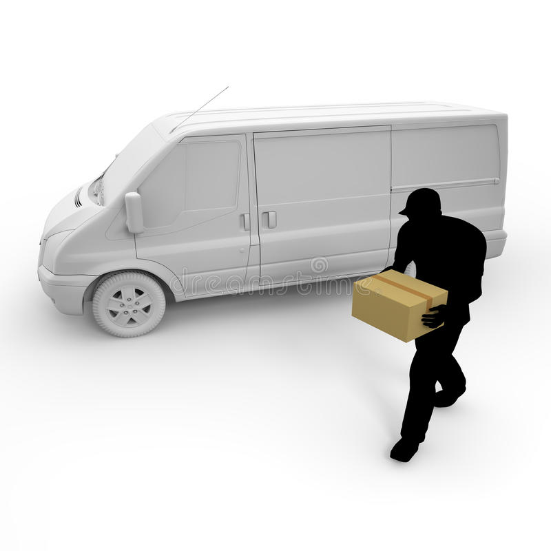 Delivery. Courier service to deliver the luggage. Prompt delivery. I deliver in the car. A lot of luggage. Delivery to men stock illustration