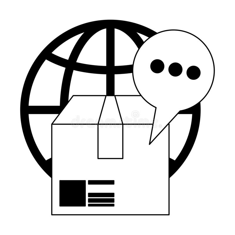 Delivery and customer service black and white vector illustration