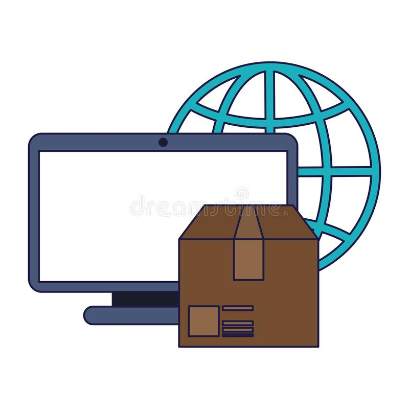 Delivery and customer service blue lines vector illustration