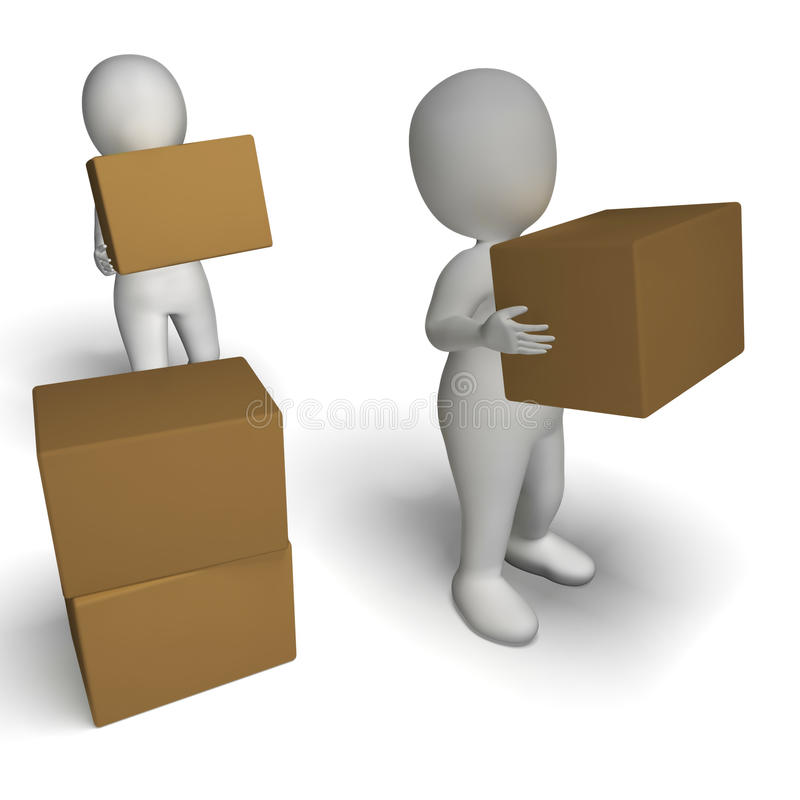 Delivery By 3d Characters Shows Moving Packages Royalty Free Stock Photos
