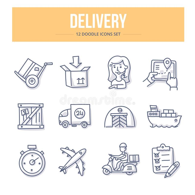 Delivery Doodle Icons stock illustration