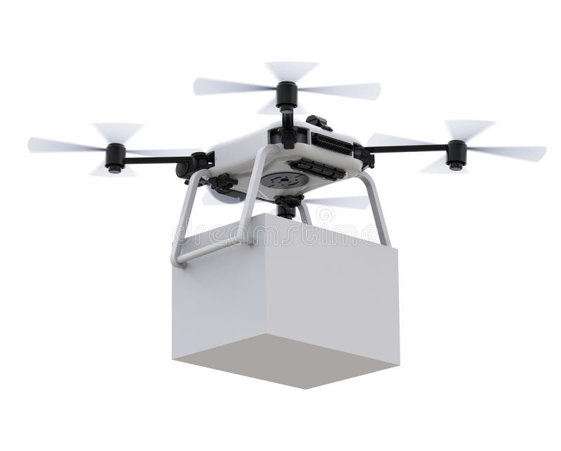 Delivery drone with box stock illustration