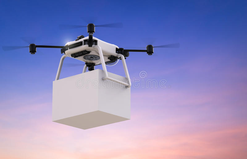 Delivery drone with box. 3d rendering delivery drone with white box stock photography