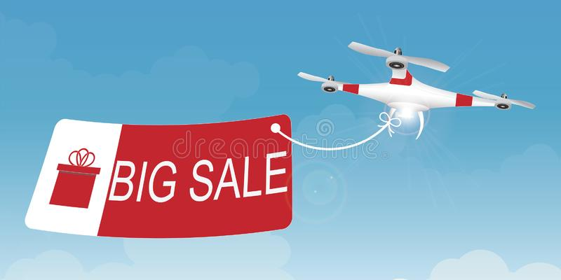 Delivery drone carrying a shopping sale advertisement banner. vector illustration
