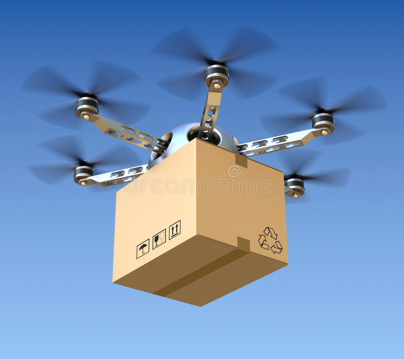 Delivery drone. With the package - 3D concept