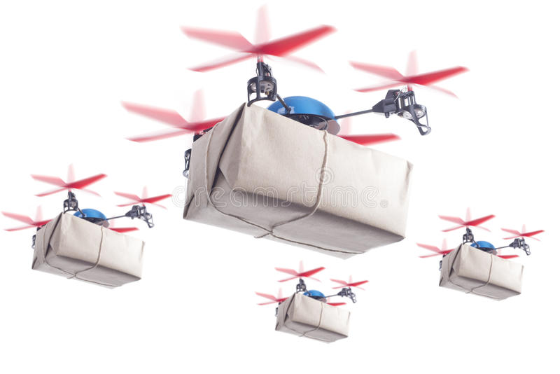 Delivery drone swarm. Swarm of drones delivering packages. Same day delivery for more customer satisfaction concept stock photo