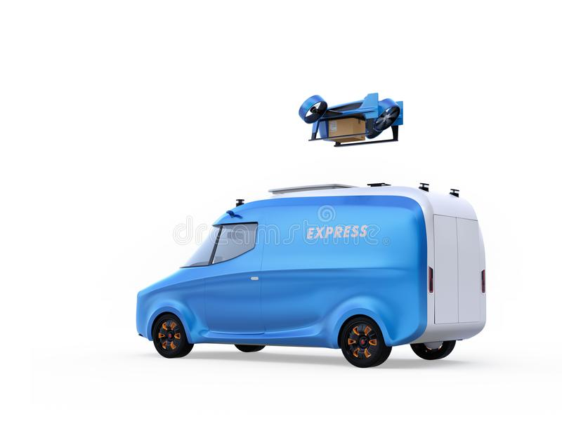 Delivery drone takeoff from two-tone electric powered delivery van on white background royalty free illustration