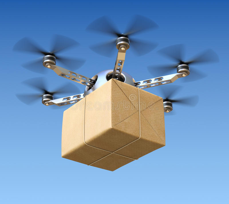Free Delivery Drone With Post Package Royalty Free Stock Images - 36242209