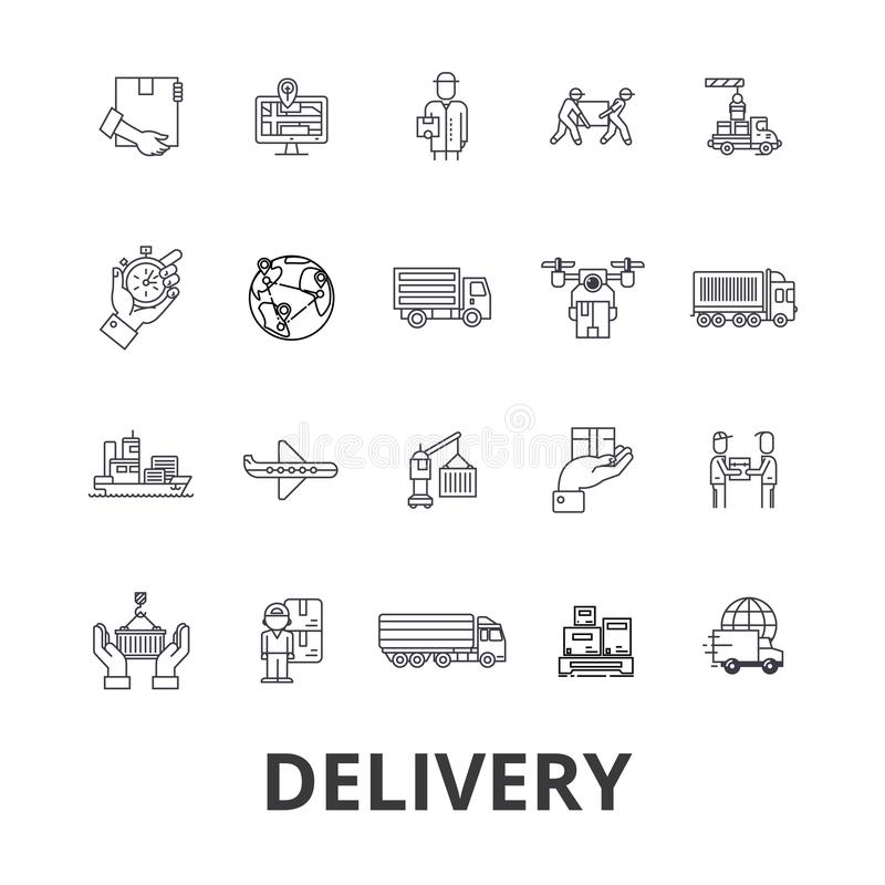 Delivery, food, free delivery, courier, truck, pizza delivery, transportation line icons. Editable strokes. Flat design stock illustration