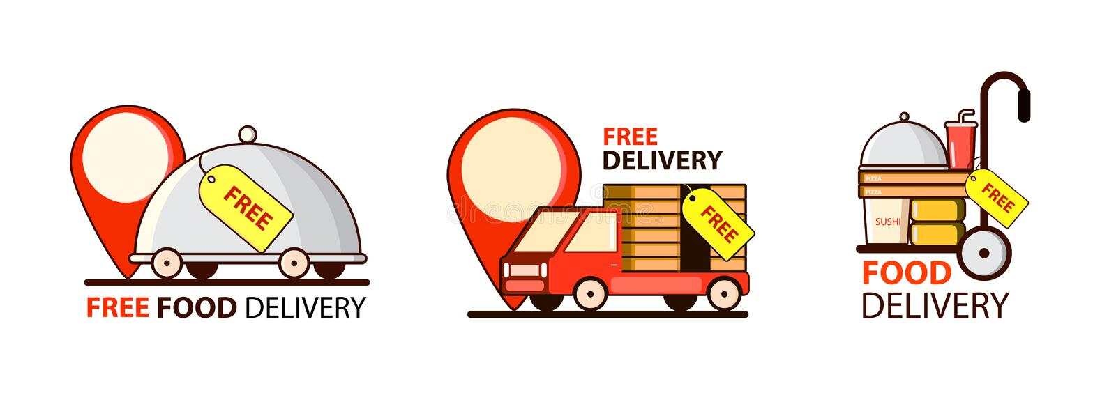 Delivery Free. Cheap. Set with car and food. Point , mark. Vector royalty free illustration