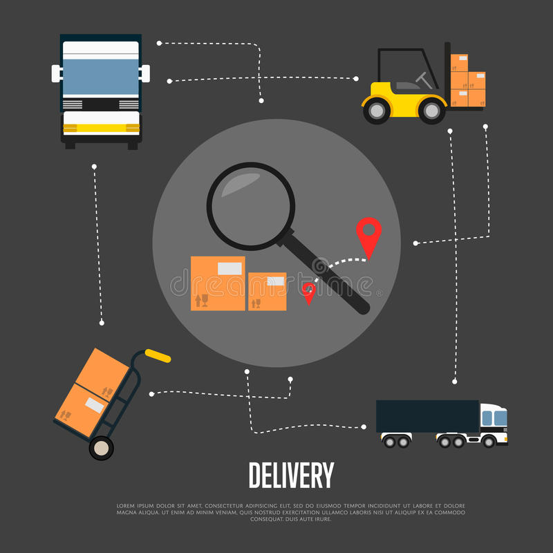 Delivery and freight shipment flowchart. Vector illustration. Freight commercial truck, forklift with packing boxes, delivery route sign with magnifier stock illustration