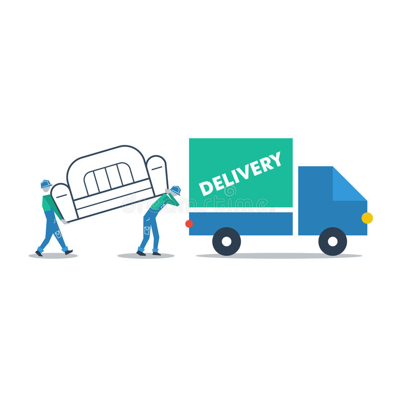Delivery furniture, truck transportation vector illustration