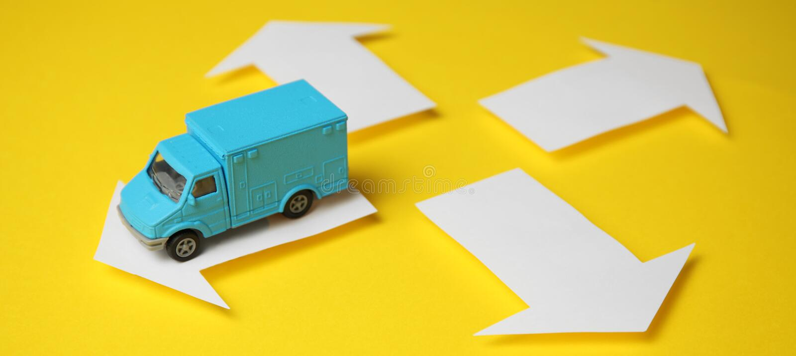 Delivery of goods by cargo van. Courier and logistics company.  stock images