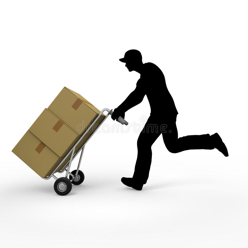 Delivery of goods. Courier service to deliver the luggage. Prompt delivery. I deliver in the car. A lot of luggage. Delivery to men vector illustration