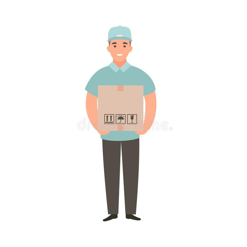 Free Delivery Guy Holding Box With An Order. Royalty Free Stock Image - 144476896