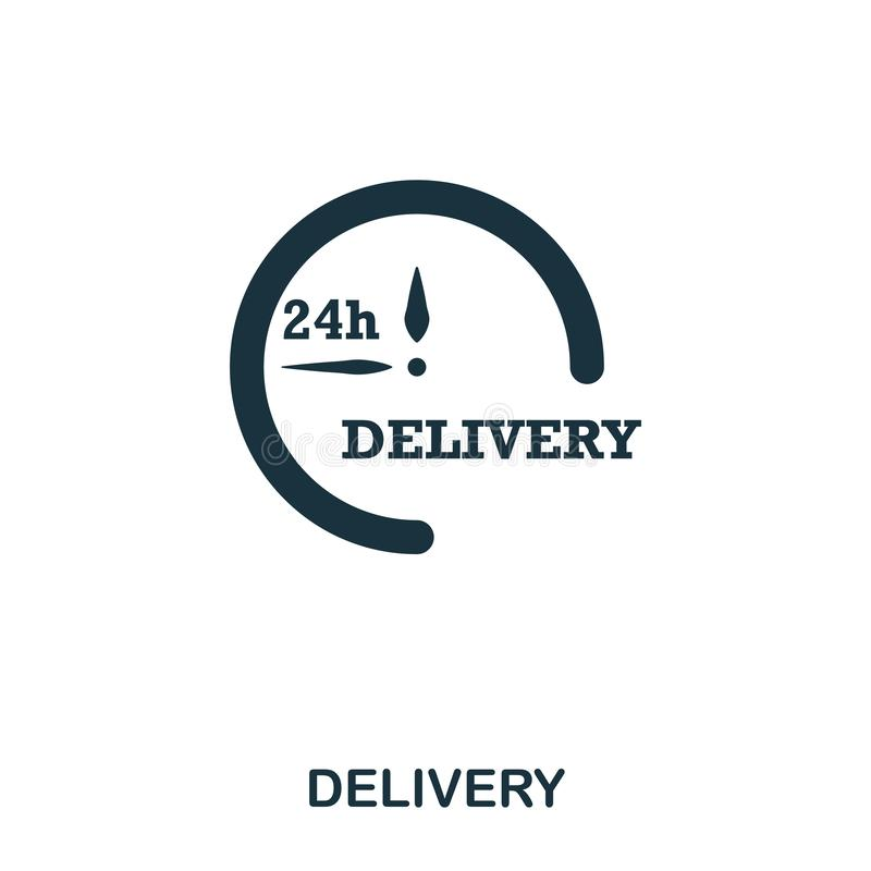 Delivery 24 icon. Mobile apps, printing and more usage. Simple element sing. Monochrome Delivery icon illustration. Delivery 24 icon. Mobile apps, printing and vector illustration