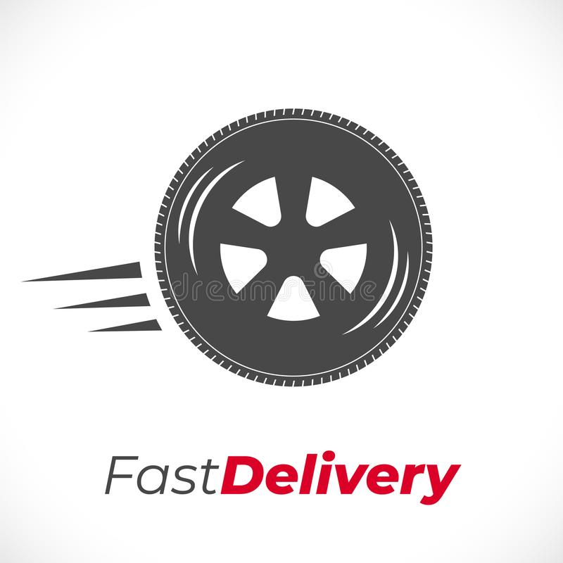 delivery icon wheel grey vector illustration