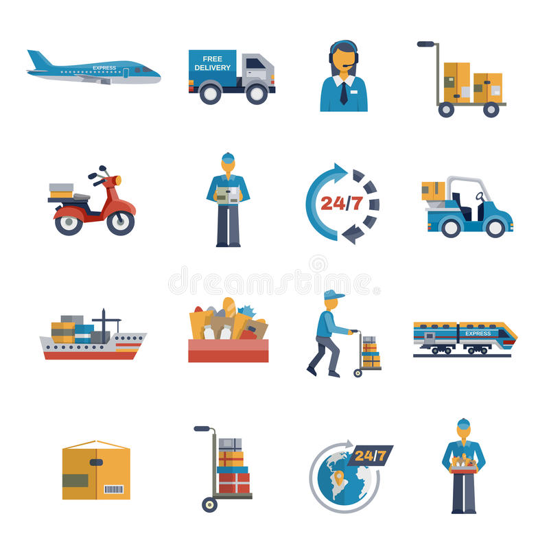 Delivery Icons Flat Set royalty free illustration