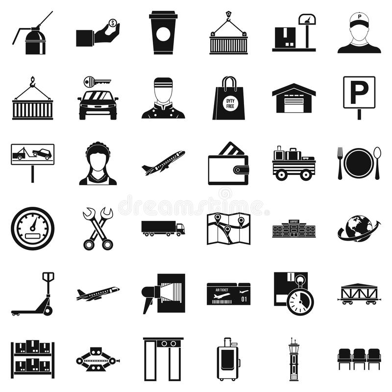 Delivery icons set, simple style. Delivery icons set. Simple style of 36 delivery vector icons for web isolated on white background stock illustration