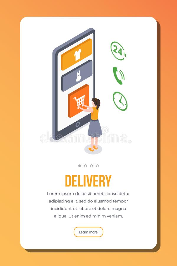 Delivery isometric app page vector template. Female customer order online shipment. Responsive smartphone onboarding vector illustration