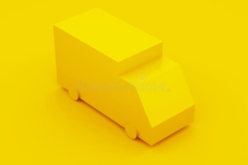 Delivery, isometric yellow truck. 3D illustration. Delivery, isometric yellow truck 3D illustration stock illustration