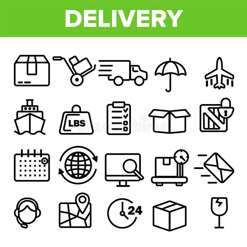 Delivery Line Icon Set Vector. Fast Transportation Service. Delivery 24 Logistic Support Icons. Express Order. Thin royalty free illustration