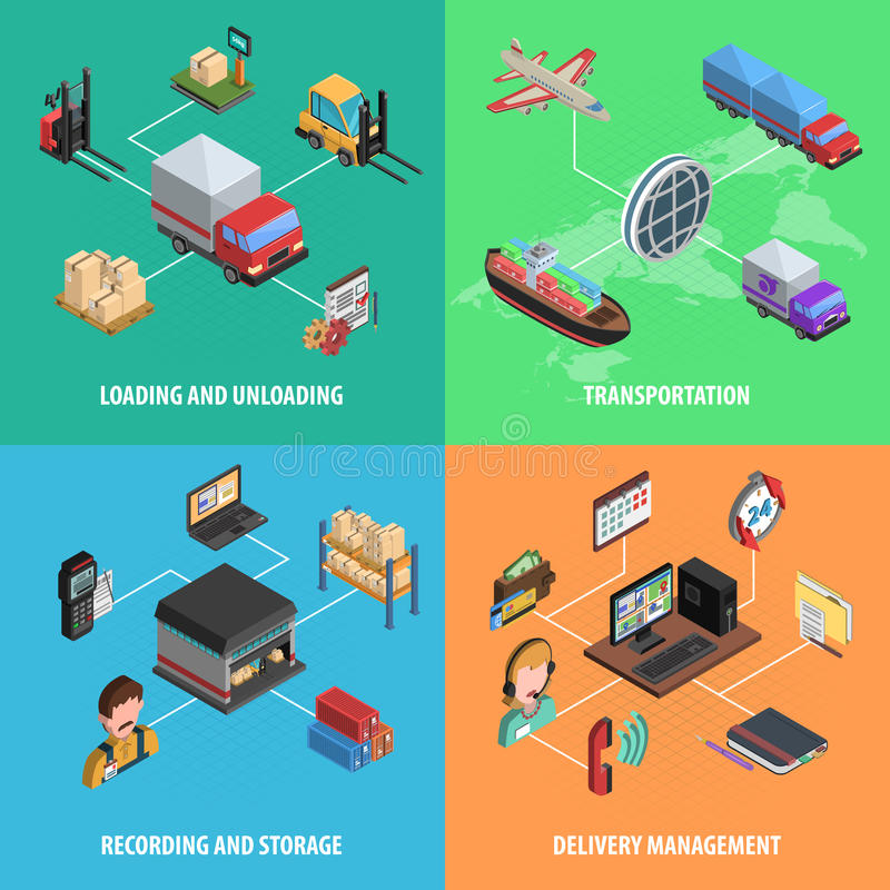 Delivery And Logistic Square Isometric Icon Set stock illustration