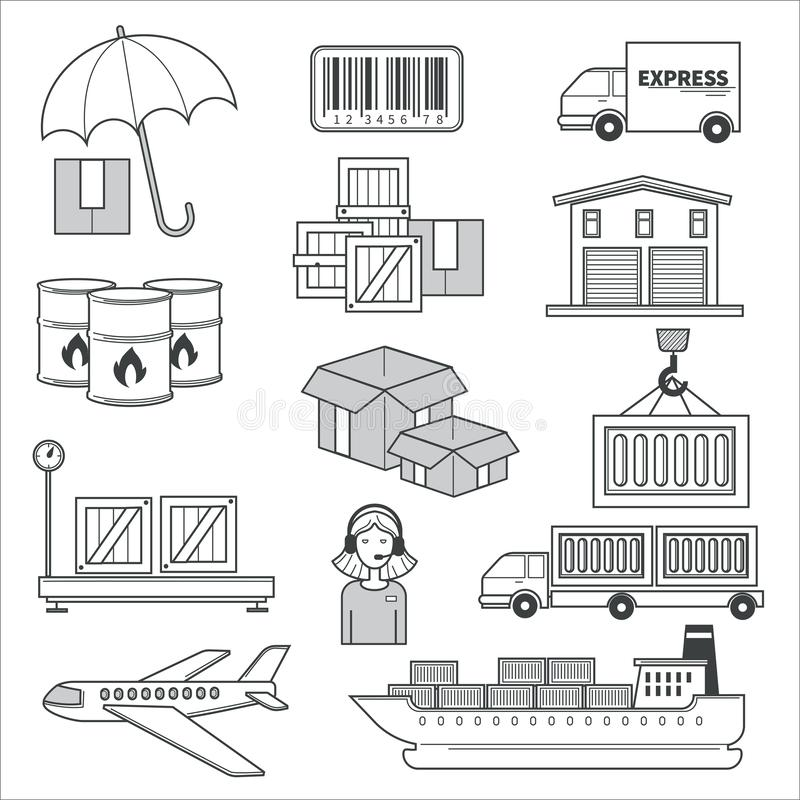 Delivery and logistics, parcels and cargo transportation isolated icons. Logistics and delivery, parcels and cargo transportation isolated icons vector stock illustration