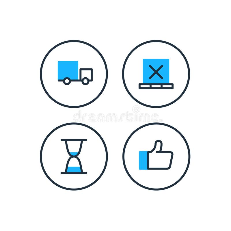 Delivery logistics services icons set, move boxes, loading truck, time vector illustration