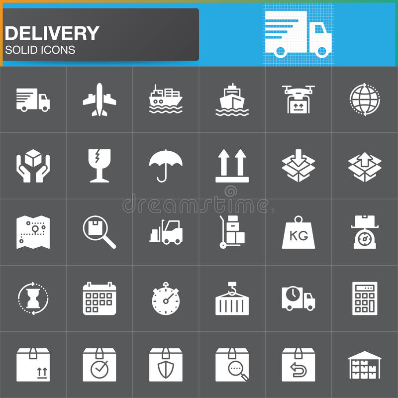 Delivery and logistics vector icons set, modern solid symbol collection, filled white pictogram pack. Signs, logo illustration. Set includes icons as shipping stock illustration