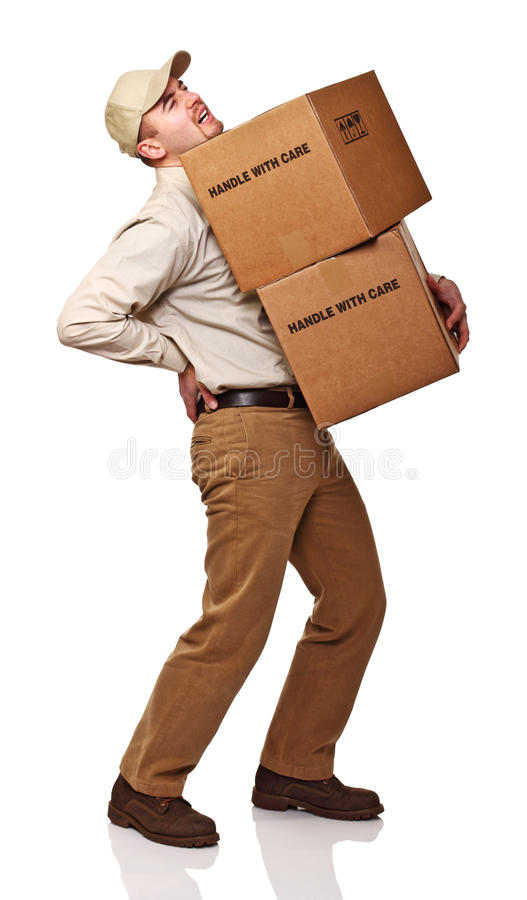 Delivery man with back pain. Isolated on white background royalty free stock photos