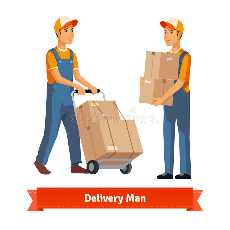 Delivery man with boxes royalty free illustration