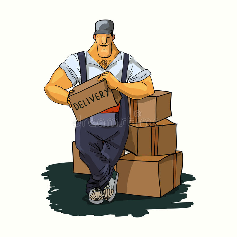 Download Delivery man with boxes stock vector. Illustration of personnel - 39502728