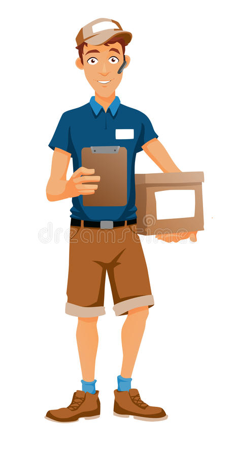 A delivery man bringing a package royalty free stock photos