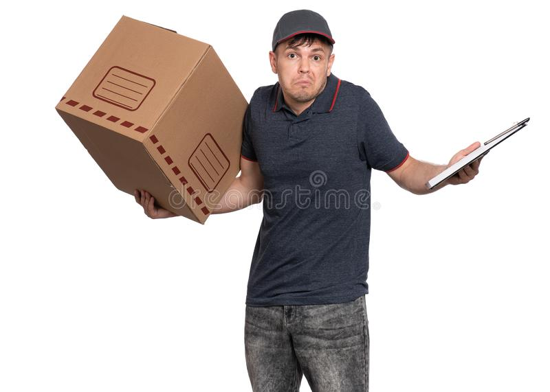 Delivery man in cap on white royalty free stock photos