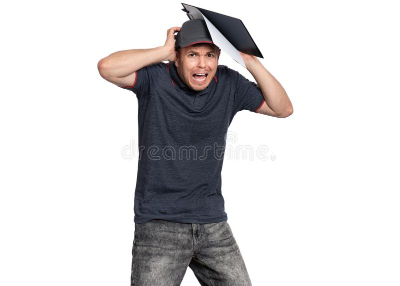Delivery man in cap on white royalty free stock photography