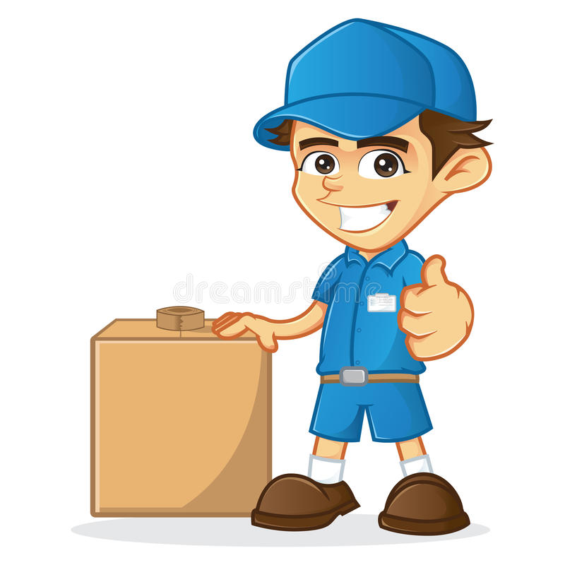 Delivery Man with package royalty free illustration